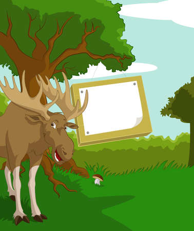 Vector image of wood background with plate and elk