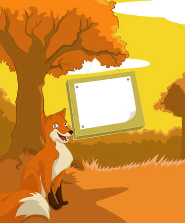 Vector image of wood background with plate and fox