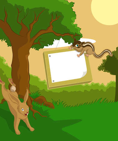 Vector image of wood background with plate and hare and chipmunk
