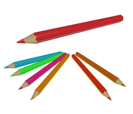 Vector image of collection of colored pencils