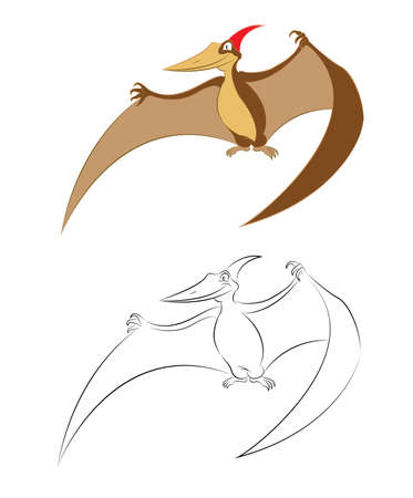 Vector image of funny cartoon pterosaurus pteranodon Illustration