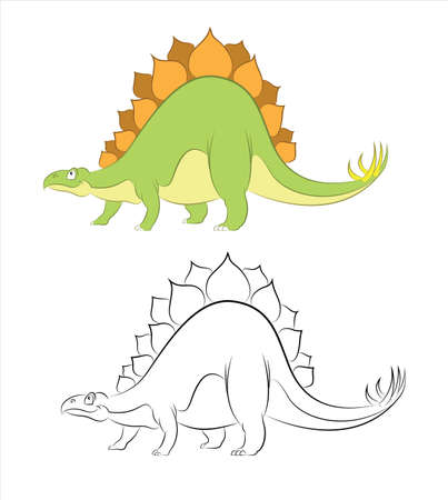 Vector image of funny cartoon dinosaur Stegosaurus