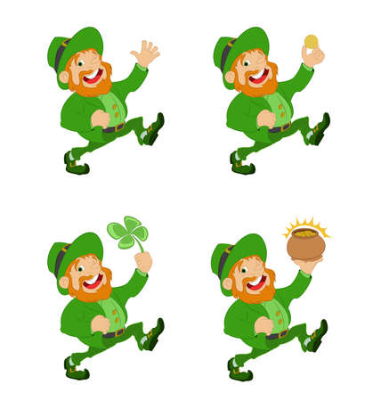 Vector image of Collection of funny Leprechauns