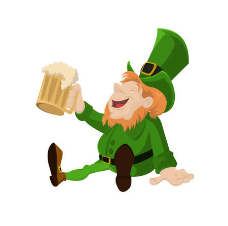 Vectorimage of Leprechaun with glass of  beer Vector