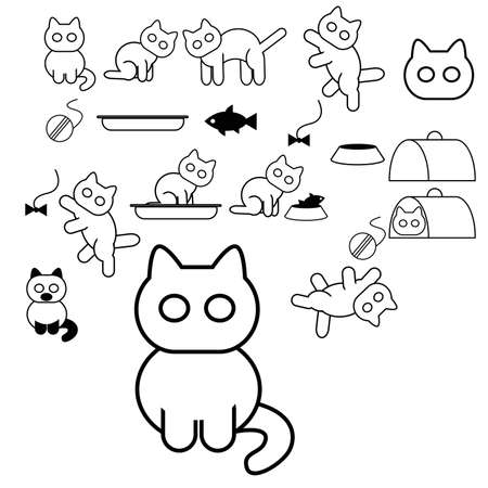 Vector image of collection of cat icons Stock Vector - 18663665