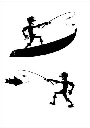 Vector image of dark silhouette of fisherman
