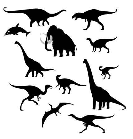 mammoth: silhouettes of prehistoric animals