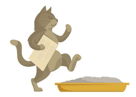 idzie: Wektor kot idzie w toalecie z gazety