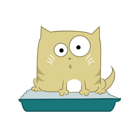 Vector image with cat sitting in its toilet Illustration