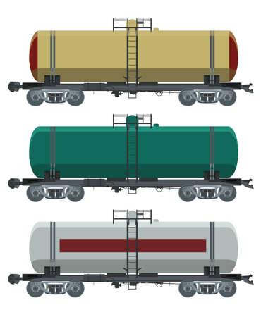 Vector image of collection of cistern cars