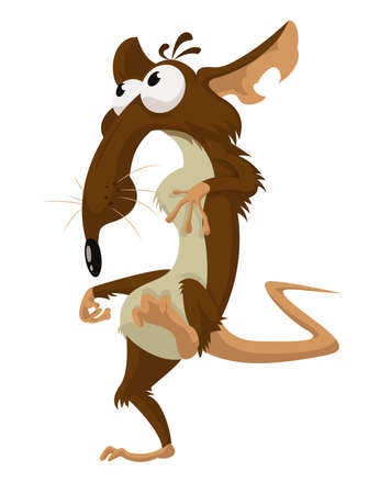 Vector image of cartoon funny crazy rat Vector
