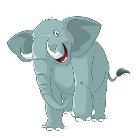 Vector image of big funny cartoon elephant Illustration