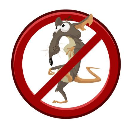 Vector image of sign with cartoon funny rat Vector