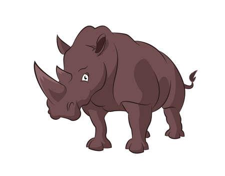 Vector image of big brown cartoon rhinoceros Stock Vector - 19481014