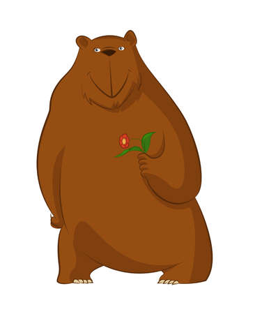 character traits: image of funny cartoon bear with flower