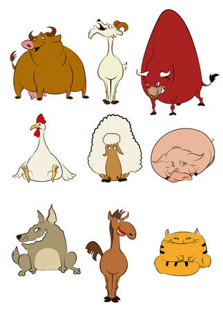 domestic cattle: image of collection of Domestic cartoon animals