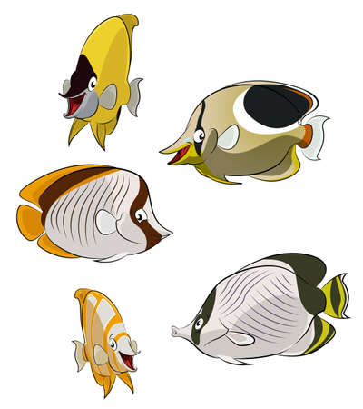 Collection of image of butterflies fishes Stock Vector - 21765489