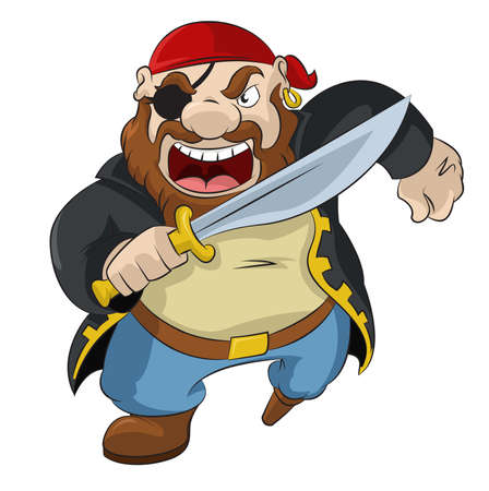 image of funny cartoon pirate with sword