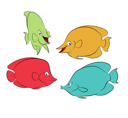Collection of diffirent colorful cartoon smiling fishes Vector