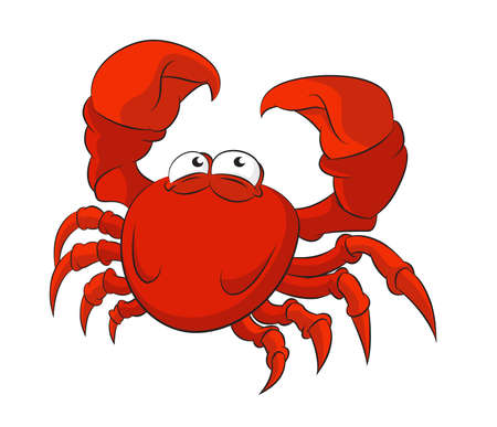 image of funny cartoon red crab Illustration