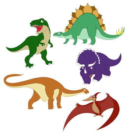 Collection of images of different cartoon dinosaurs Vector