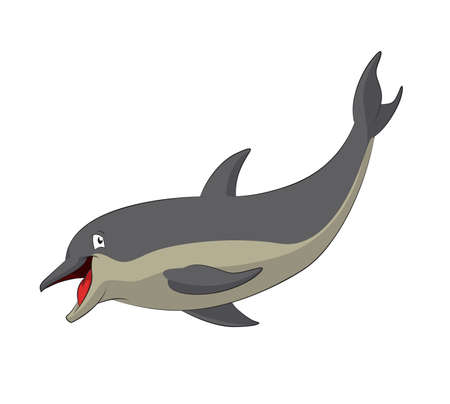 character traits: image of funny cartoon smiling dolphin