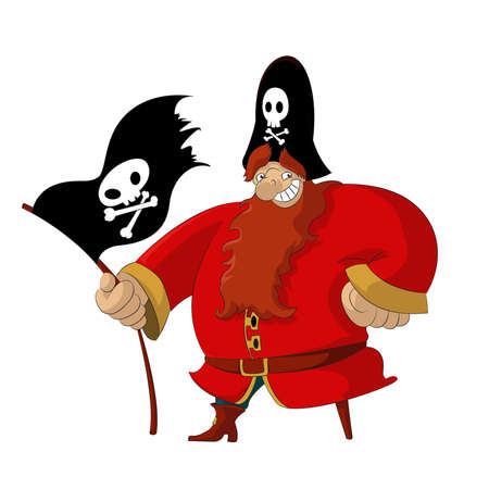 image of funny cartoon smiling pirate Vector