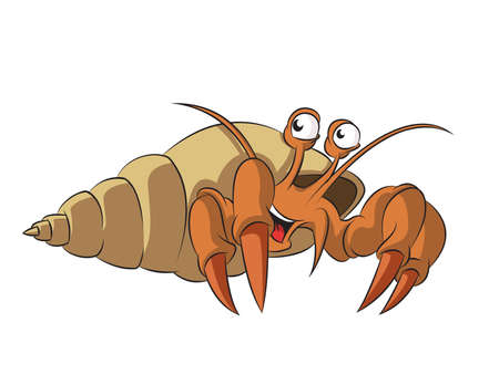 image of funny cartoon smiling hermit crab Vector