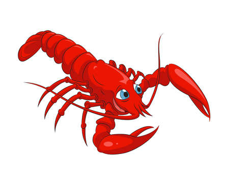 image of funny cartoon smiling lobster