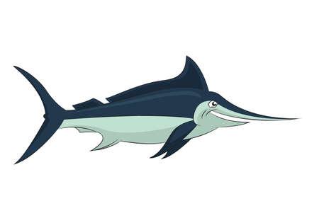 saltwater fish: immagine del divertente cartone animato sorridente marlin