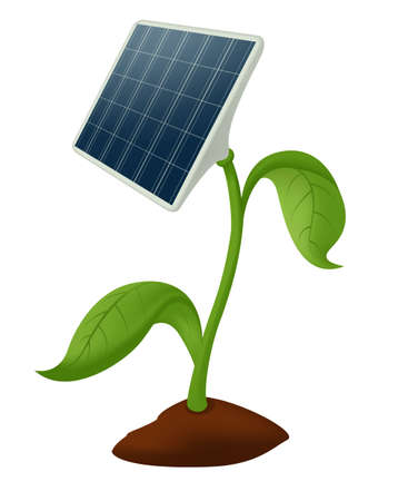 solar battery: image of plant with solar battery Illustration