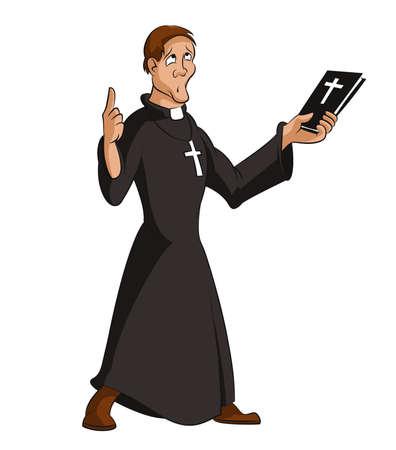 sacerdote: imagen divertida sacerdote inteligente de dibujos animados