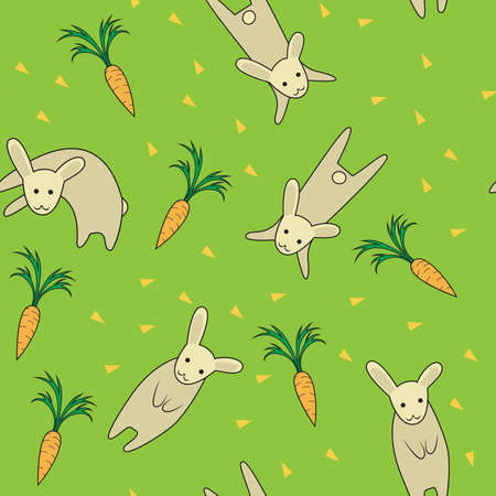 image of Rabbit seamless pattern green color Vector