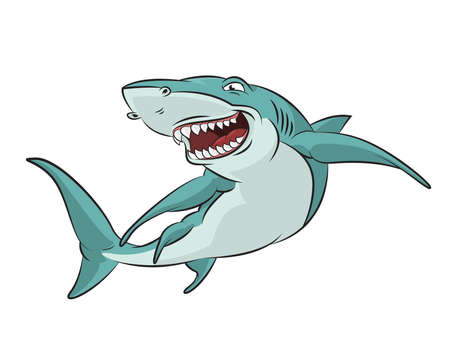image of funny cartoon smiling shark Stock Vector - 21765612