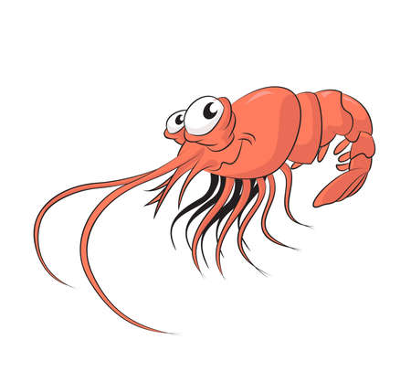 image of funny cartoon smiling shrimp Vector