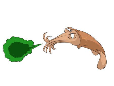 Bild von lustigen Comic niesen Tintenfisch