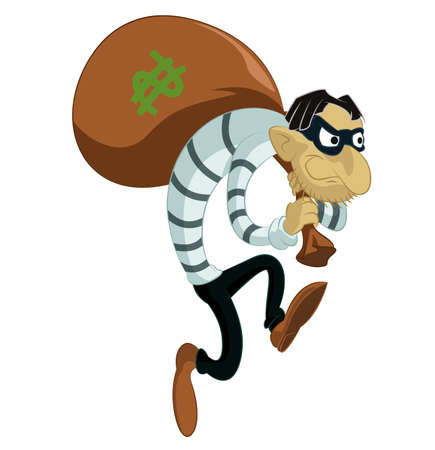 looting: image of funny cartoon evil thief