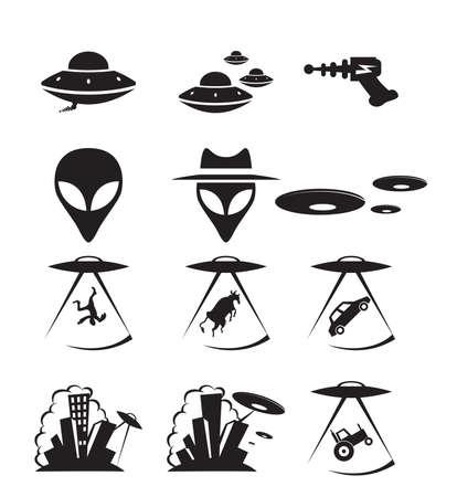 invasion: collection d'ic�nes sur une invasion extraterrestre