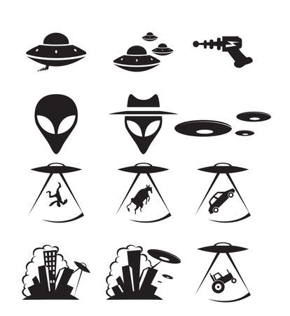 collection of icons about alien invasion 向量圖像