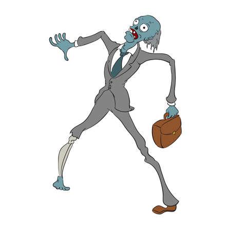 Zvector image of cartoon grey office zombie Illustration
