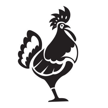 Black tatoo with a ornamental big chiken Vector