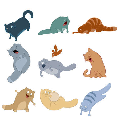 Vector image of collection of cat icons Stock Vector - 23076724