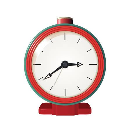 cartoon clock: Vector image of metal red and green alarm clock Illustration