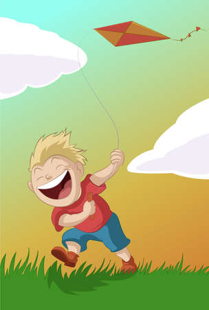 Vector image of the boy with the kite