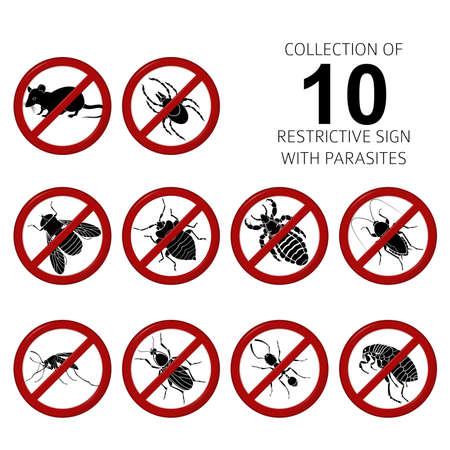 Vector beeld Inzameling van van 10 parasieten Stock Illustratie
