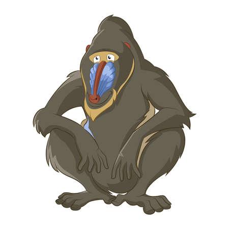 mandril: Vector de imagen de divertido babuino sabidur�a de dibujos animados
