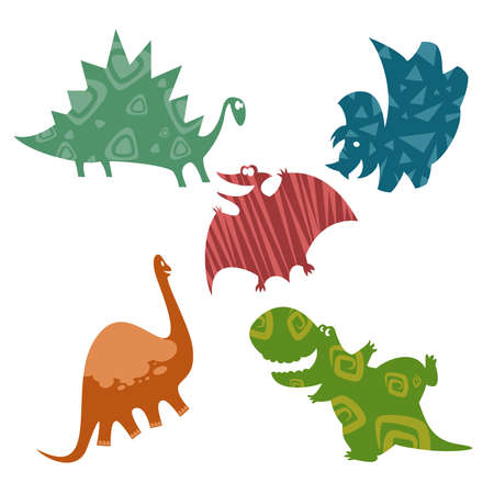 Vector image of cartoon cmiling baby dinosaurs Vector