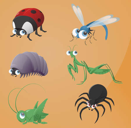 Vector image of funny cartoon bugs icons