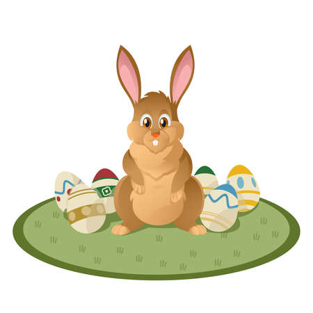 Vector image of funny cartoon  brown easter bunny Vector