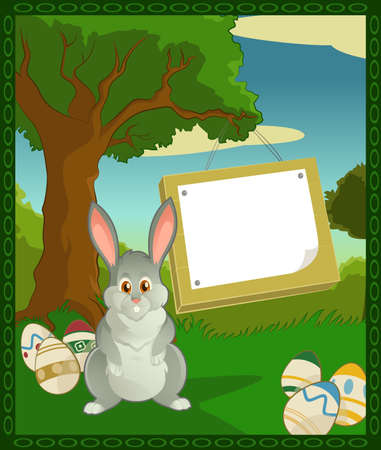 Vector image of cartoon forest with easter bunny Vector